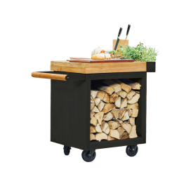 Mise en Place Table Black 65 PRO Teak Wood