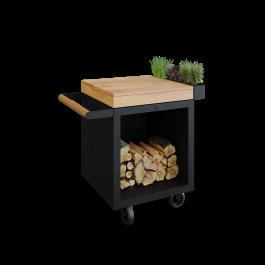 Mise en Place Table Black 65 PRO Teak Wood