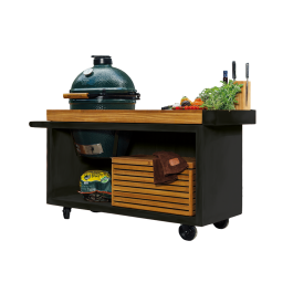 OFYR Kamado Table Black 135 PRO Teak Wood BGE